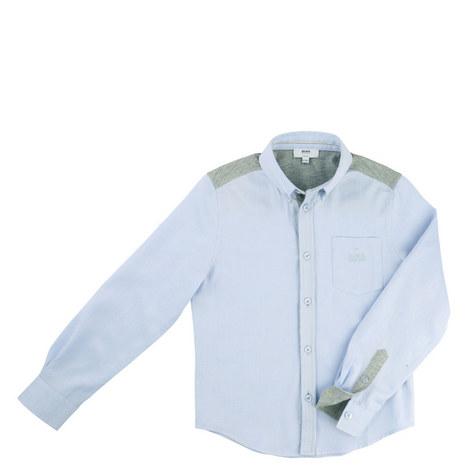 Contrast Trim Oxford Shirt Teen, ${color}