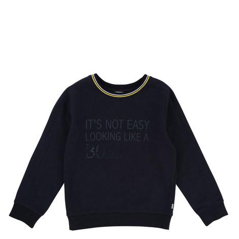 Trim Slogan Sweatshirt, ${color}