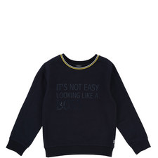 Trim Slogan Sweatshirt