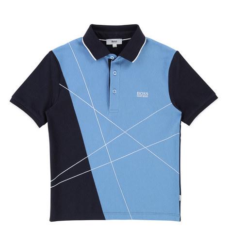 Contrast Abstract Polo Shirt Teen, ${color}