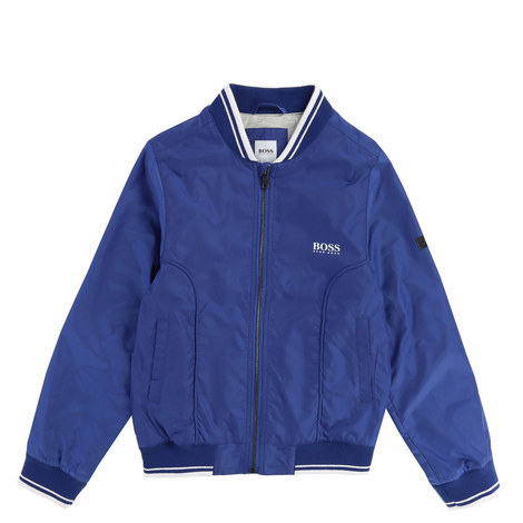 Tipped Trim Bomber Jacket, ${color}