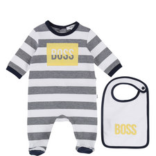 Striped Bib and Romper Baby