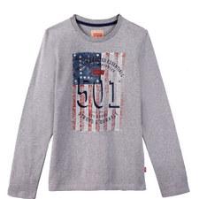 Flag Print Long Sleeve T-Shirt Kids