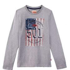 Flag Print Long Sleeve T-Shirt Teens