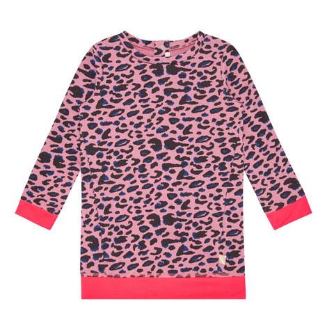 Long-Sleeved Leopard Print Dress, ${color}