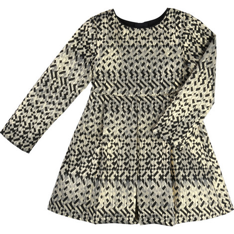Geometric Jacquard Dress Teen, ${color}