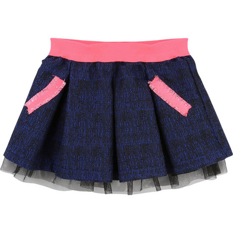 Tulle Trim Prom Skirt, ${color}