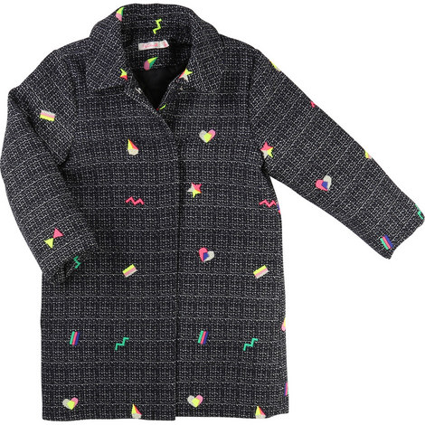 Embroidered Tweed Coat Kids, ${color}