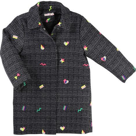 Embroidered Tweed Coat Teen, ${color}