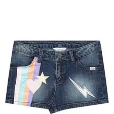 Satin Patch Denim Shorts