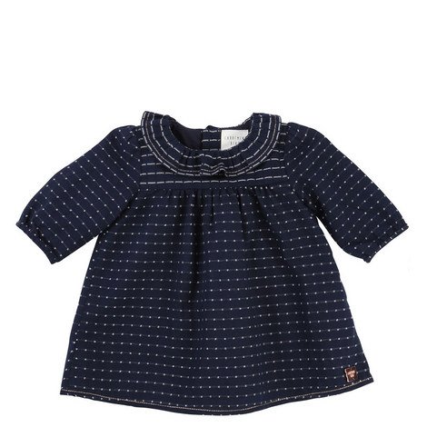 Ruffle Collar Dotty Dress Baby, ${color}