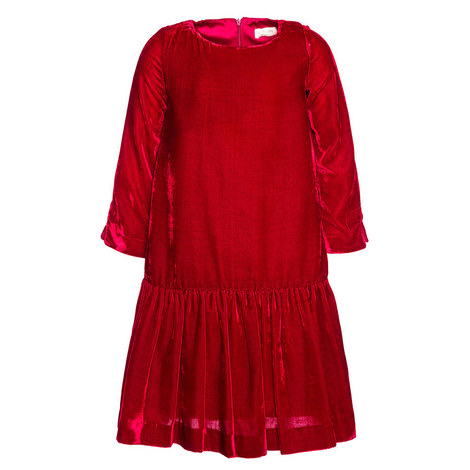 Velvet Drop Waist Dress Kids, ${color}