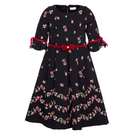 Velvet Trim Flared Dress Kids, ${color}