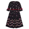 Velvet Trim Flared Dress Kids, ${color}