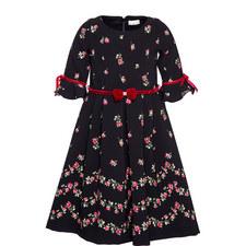 Velvet Trim Flared Dress Kids