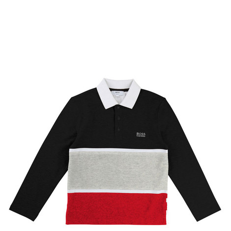 Long Sleeve Striped Polo Teens, ${color}