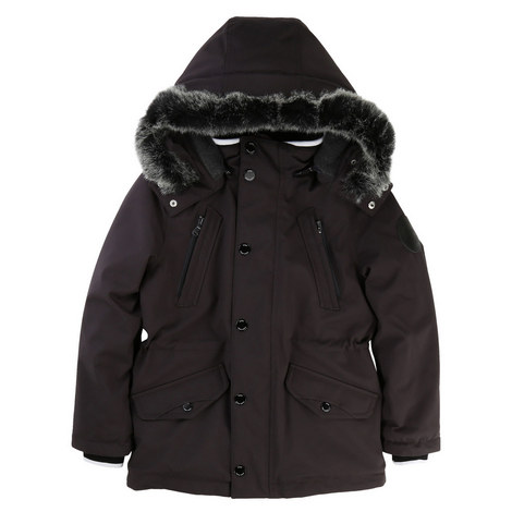 Faux Fur Hooded Parka Teens, ${color}