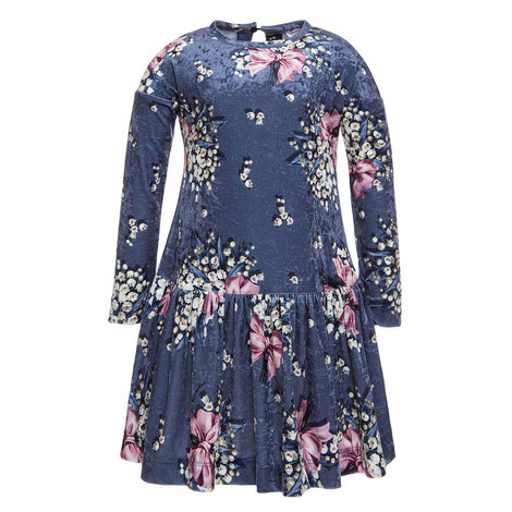 Velvet Drop Waist Dress Kids, ${color}