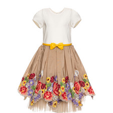 Floral Embroidered Tulle Dress Kids