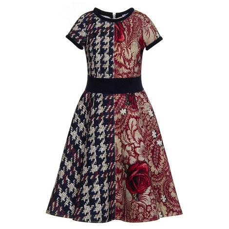 Scuba Flared Dress Teen, ${color}