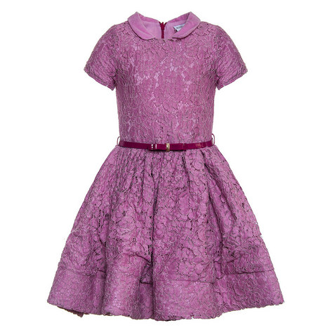 Peter Pan Collar Lace Dress Teen, ${color}