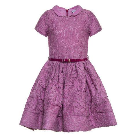 Peter Pan Collar Lace Dress Teen, ${color}