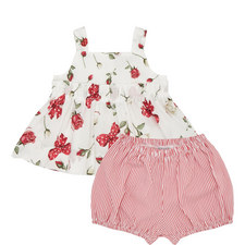 Two-Piece Rose Motif Poplin Set Baby