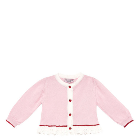 Pink Broderie Trim Cardi Baby, ${color}