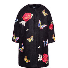 Embroidered Cocoon Coat Kids