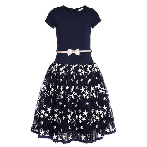 Star Appliqué Tulle Dress Teens, ${color}