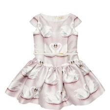 Swan Print Mikado Dress