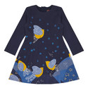 Bird Print A-Line Dress Kids, ${color}
