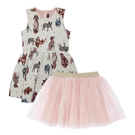 Dog Print Dress Kids, ${color}