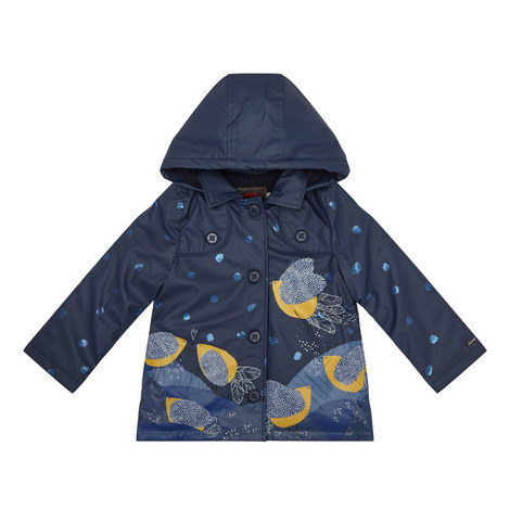 Bird Print Raincoat Teens, ${color}