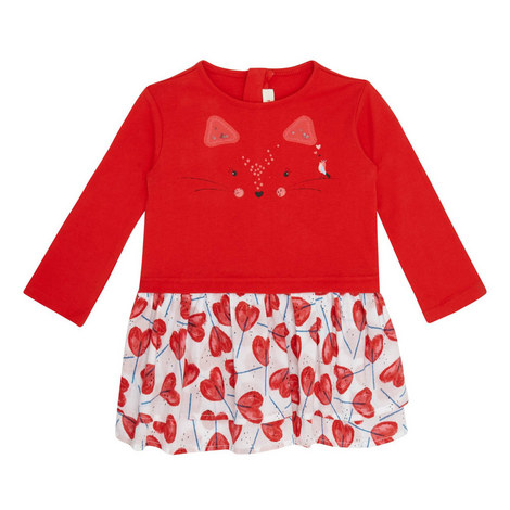 Heart Print Cat Dress Toddler, ${color}