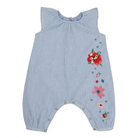 Chambray Floral Romper, ${color}