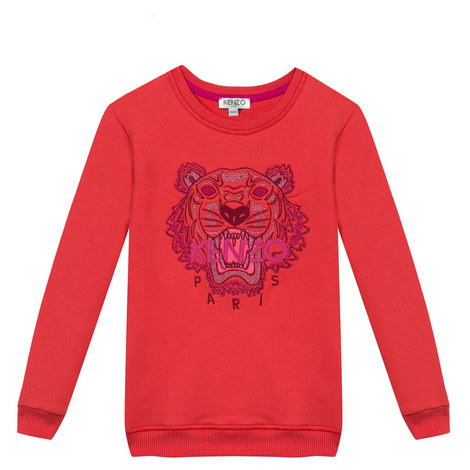 Embroidered Tiger Sweatshirt Teens, ${color}