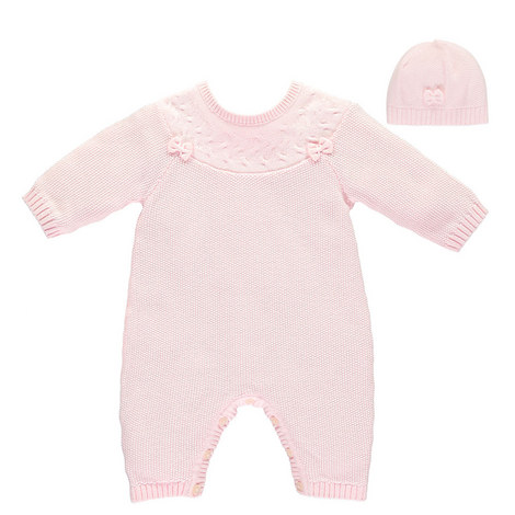 Luna Bow Knit Romper and Hat Baby, ${color}