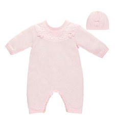 Luna Bow Knit Romper and Hat Baby