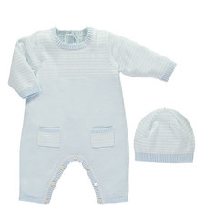 Leo Knitted Romper and Hat Set Baby