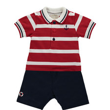 Striped Polo Shirt and Shorts Set