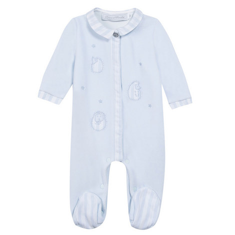 Striped Trim Sleepsuit Baby, ${color}