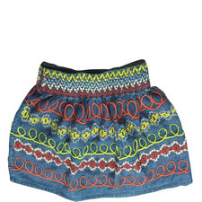 Chambray Embroidered Skirt Teens