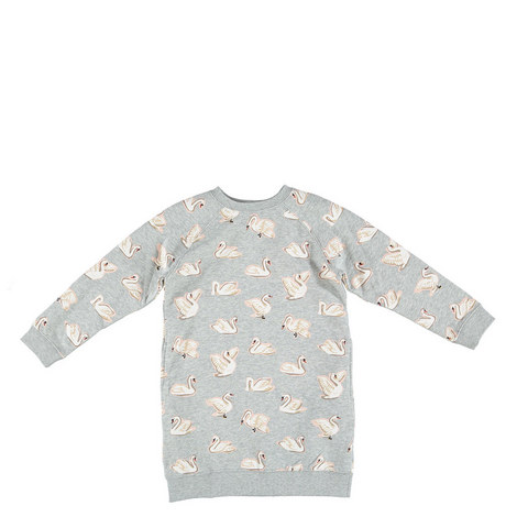 Leona Swans Sweatshirt Dress Kids, ${color}