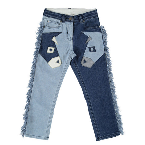 Lohan Fringed Patch Denims Teens, ${color}