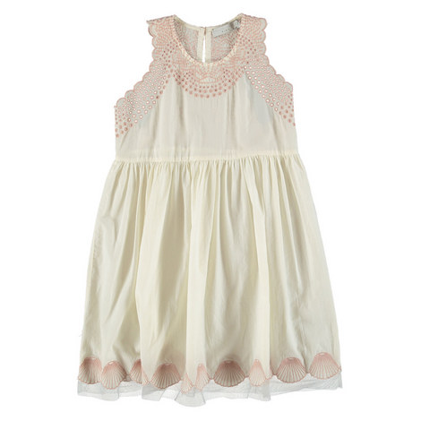 Bay Seashell Embroidered Dress Teens, ${color}