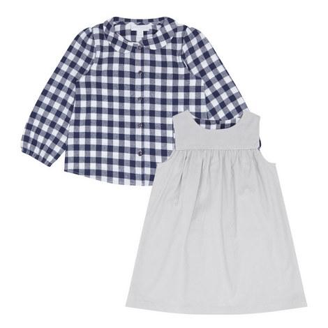 2-Piece Check Shirt and Pinafore Set, ${color}