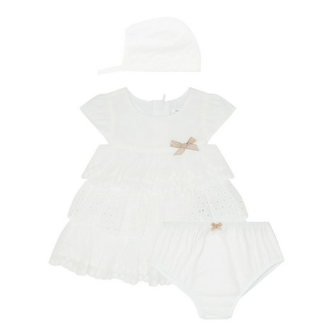 Three-Piece Ruffled Dress & Bonnet Baby , ${color}