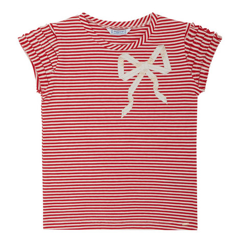 Striped Bow Print Top, ${color}
