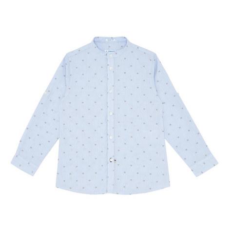 Printed Mandarin Collar Shirt, ${color}